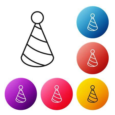 Black line Party hat icon isolated on white background. Birthday hat. Set icons colorful circle buttons. Vector Illustration