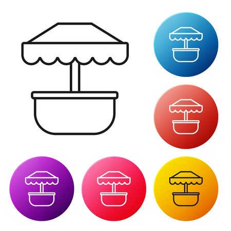 Black line Attraction carousel icon isolated on white background. Amusement park. Childrens entertainment playground, recreation park. Set icons colorful circle buttons. Vector Illustration