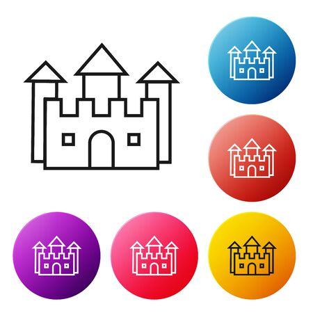 Black line Castle icon isolated on white background. Set icons colorful circle buttons. Vector Illustration