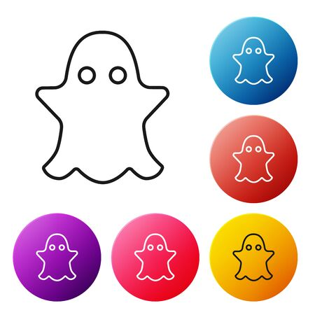 Black line Ghost icon isolated on white background. Set icons colorful circle buttons. Vector Illustration