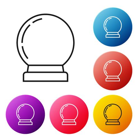 Black line Magic ball icon isolated on white background. Crystal ball. Set icons colorful circle buttons. Vector Illustration