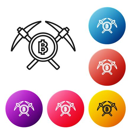 Black line Crossed pickaxe icon on white background. Blockchain technology, cryptocurrency mining, bitcoin, altcoins, digital money market. Set icons colorful circle buttons. Vector Illustration Foto de archivo - 129239112