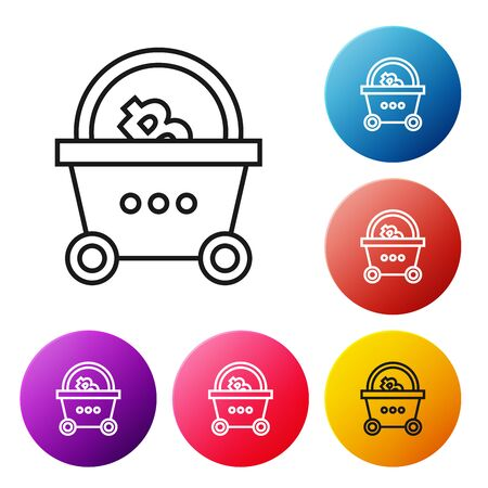 Black line Shopping basket with bitcoin icon on white background. Blockchain technology, cryptocurrency mining, digital money market. Set icons colorful circle buttons. Vector Illustration Foto de archivo - 129239121