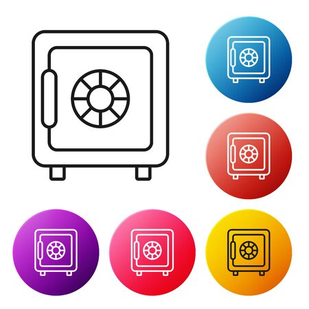 Black line Safe icon on white background. The door safe a bank vault with a combination lock. Reliable Data Protection. Set icons colorful circle buttons. Vector Illustration Stock Illustratie