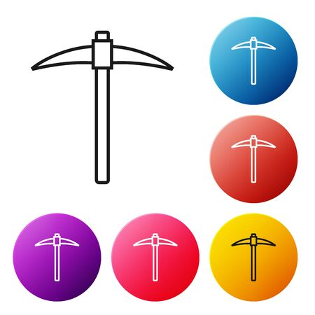 Black line Pickaxe icon on white background. Blockchain technology, cryptocurrency mining, bitcoin, digital money market, cryptocoin wallet. Set icons colorful circle buttons. Vector Illustration Foto de archivo - 129239138