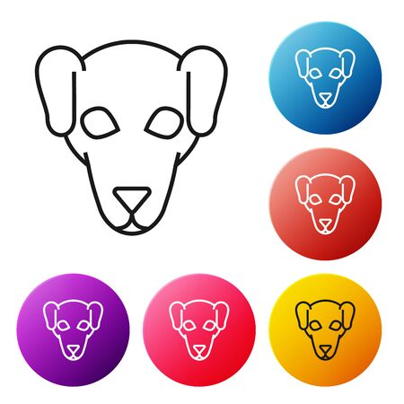 Black line Hunting dog icon isolated on white background. Set icons colorful circle buttons. Vector Illustration Ilustracja