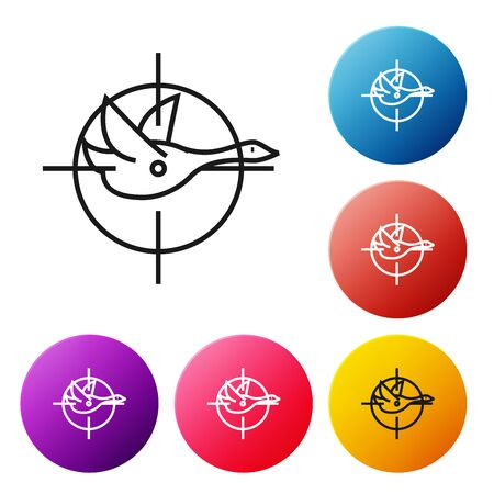 Black line Hunt on duck with crosshairs icon isolated on white background. Hunting club with duck and target. Rifle lens aiming a duck. Set icons colorful circle buttons. Vector Illustration