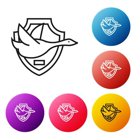 Black line Flying duck on shield icon isolated on white background. Hunting trophy on wall. Set icons colorful circle buttons. Vector Illustration Фото со стока - 129239175