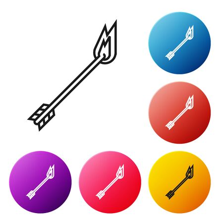 Black line Flame arrow icon isolated on white background. Hipster arrow icon. Set icons colorful circle buttons. Vector Illustration