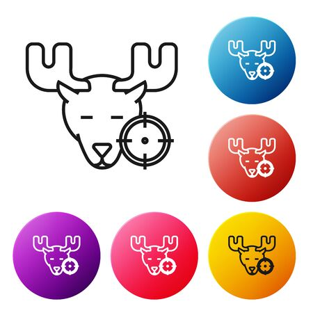 Black line Hunt on moose with crosshairs icon isolated on white background. Hunting club with moose and target. Rifle lens aiming a moose. Set icons colorful circle buttons. Vector Illustration Иллюстрация
