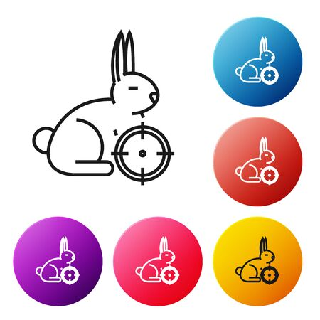 Black line Hunt on rabbit with crosshairs icon isolated on white background. Hunting club with rabbit and target. Rifle lens aiming a hare. Set icons colorful circle buttons. Vector Illustration Иллюстрация
