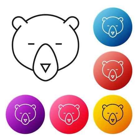 Black line Bear head icon isolated on white background. Set icons colorful circle buttons. Vector Illustration