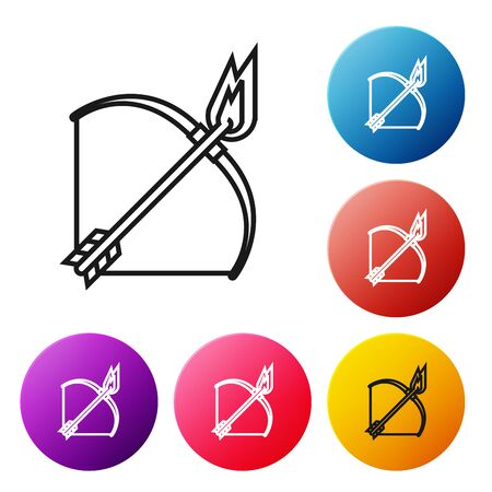 Black line Bow and fire arrow icon isolated on white background. Set icons colorful circle buttons. Vector Illustration