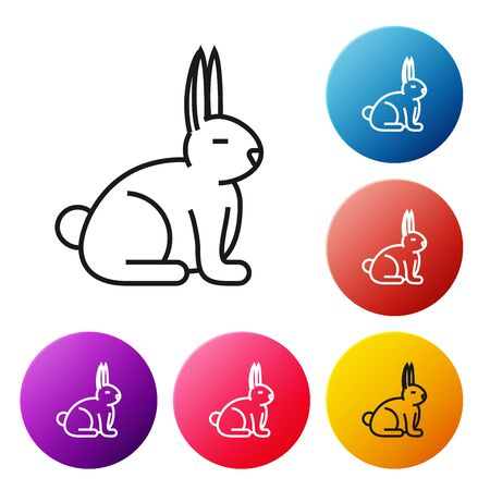 Black line Rabbit icon isolated on white background. Set icons colorful circle buttons. Vector Illustration