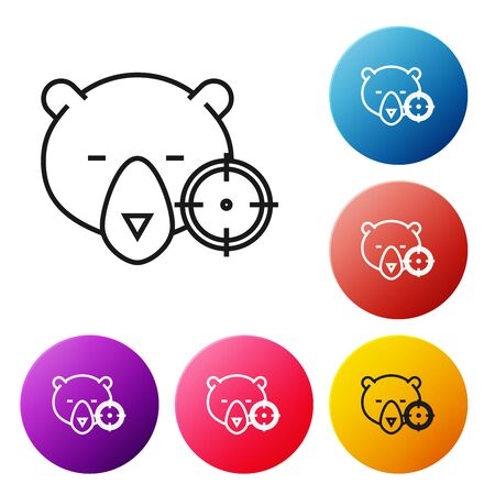 Black line Hunt on bear with crosshairs icon isolated on white background. Hunting club with bear and target. Rifle lens aiming a bear. Set icons colorful circle buttons. Vector Illustration