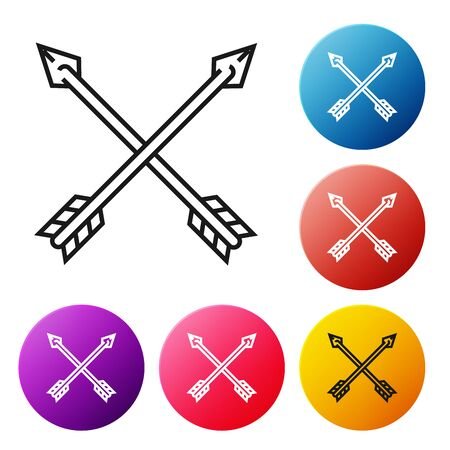 Black line Crossed arrows icon isolated on white background. Set icons colorful circle buttons. Vector Illustration Stock Illustratie