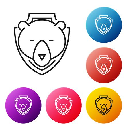 Black line Bear head on shield icon isolated on white background. Hunting trophy on wall. Set icons colorful circle buttons. Vector Illustration Фото со стока - 129239191