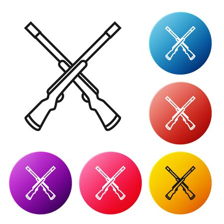 Black line Two crossed shotguns icon isolated on white background. Hunting gun. Set icons colorful circle buttons. Vector Illustration