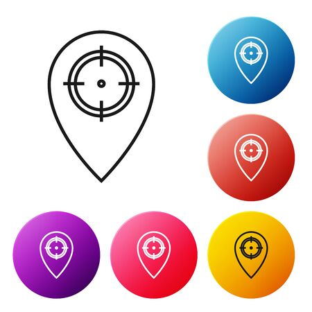 Black line Hunt place icon isolated on white background. Navigation, pointer, location, map, gps, direction, place, compass, contact, search. Set icons colorful circle buttons. Vector Illustration