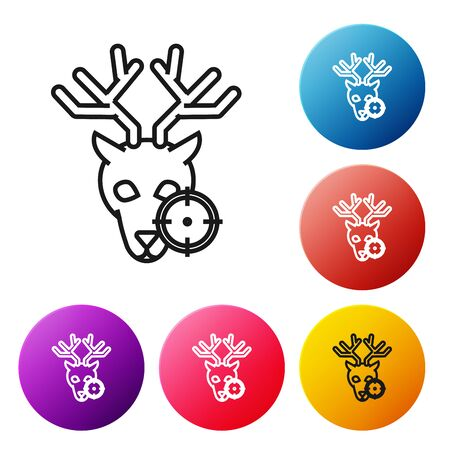 Black line Hunt on deer with crosshairs icon isolated on white background. Hunting club with deer and target. Rifle lens aiming a deer. Set icons colorful circle buttons. Vector Illustration