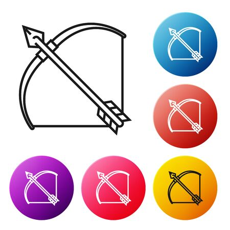 Black line Bow and arrow in quiver icon isolated on white background. Set icons colorful circle buttons. Vector Illustration