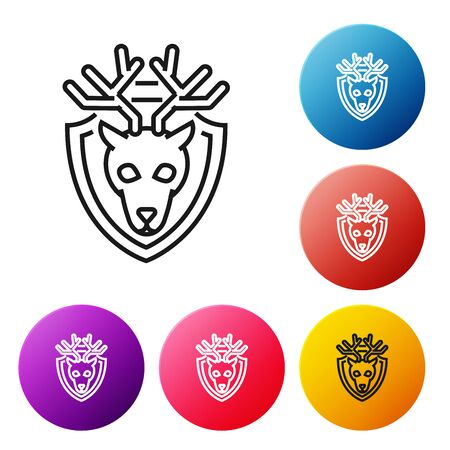Black line Deer head with antlers on shield icon isolated on white background. Hunting trophy on wall. Set icons colorful circle buttons. Vector Illustration Иллюстрация