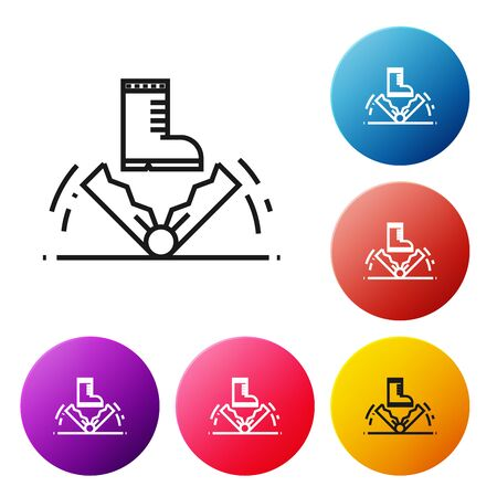 Black line Trap hunting icon isolated on white background. Set icons colorful circle buttons. Vector Illustration