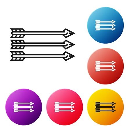 Black line Hipster arrows icon isolated on white background. Set icons colorful circle buttons. Vector Illustration Иллюстрация