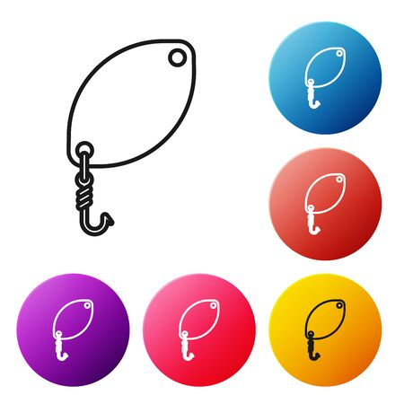 Black line Fishing spoon icon isolated on white background. Fishing baits in shape of fish. Fishing tackle. Set icons colorful circle buttons. Vector Illustration