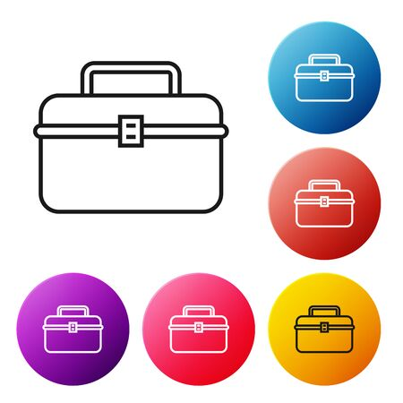 Black line Case or box container for wobbler and gear fishing equipment icon isolated on white background. Fishing tackle. Set icons colorful circle buttons. Vector Illustration Ilustração