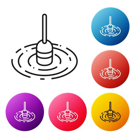 Black line Fishing float in water icon isolated on white background. Fishing tackle. Set icons colorful circle buttons. Vector Illustration