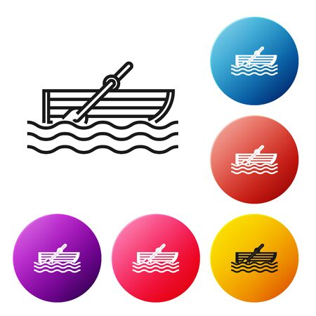 Black line Fishing boat with oars on water icon isolated on white background. Set icons colorful circle buttons. Vector Illustration