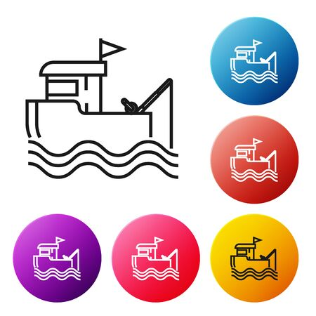 Black line Fishing boat with fishing rod on water icon isolated on white background. Set icons colorful circle buttons. Vector Illustration Иллюстрация