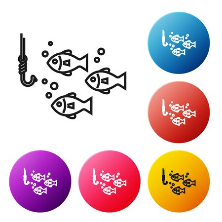 Black line Fishing hook under water with fish icon isolated on white background. Fishing tackle. Set icons colorful circle buttons. Vector Illustration