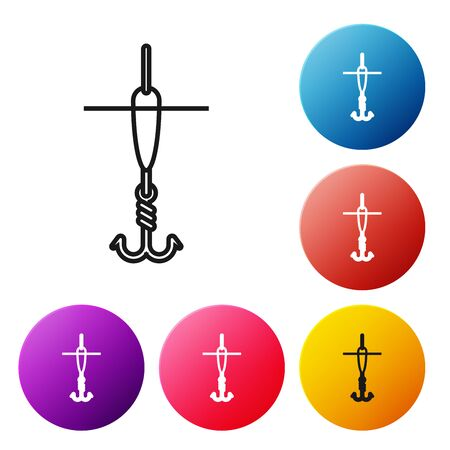 Black line Fishing hook and float icon isolated on white background. Fishing tackle. Set icons colorful circle buttons. Vector Illustration Ilustração