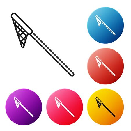 Black line Fishing net icon isolated on white background. Fishing tackle. Set icons colorful circle buttons. Vector Illustration