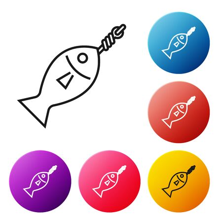 Black line Fish on hook icon isolated on white background. Set icons colorful circle buttons. Vector Illustration