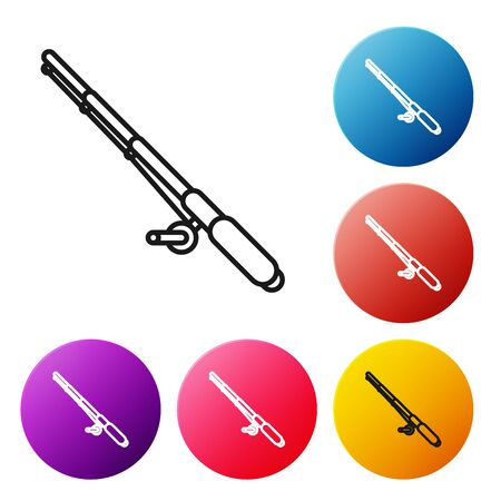 Black line Fishing rod icon isolated on white background. Fishing equipment and fish farming topics. Set icons colorful circle buttons. Vector Illustration Ilustração