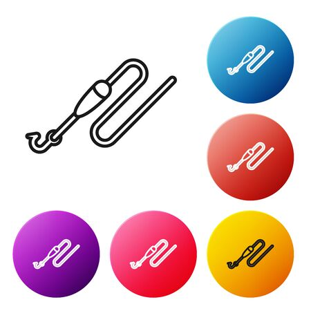Black line Fishing line with hook and float icon isolated on white background. Fishing tackle. Set icons colorful circle buttons. Vector Illustration