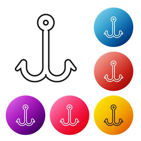 Black line Fishing hook icon isolated on white background. Fishing tackle. Set icons colorful circle buttons. Vector Illustration Çizim