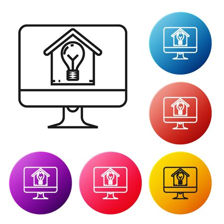 Black line Computer monitor with smart house and light bulb icon isolated on white background. Set icons colorful circle buttons. Vector Illustration
