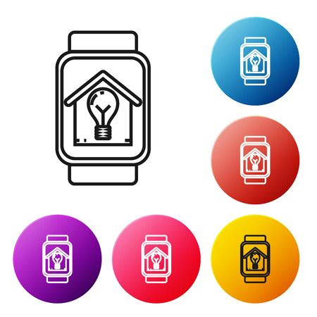 Black line Smart watch with smart house and light bulb icon isolated on white background. Set icons colorful circle buttons. Vector Illustration Stock Illustratie