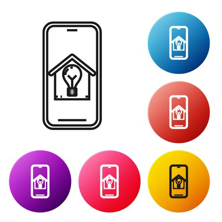 Black line Mobile phone with smart house and light bulb icon isolated on white background. Set icons colorful circle buttons. Vector Illustration Stock Illustratie