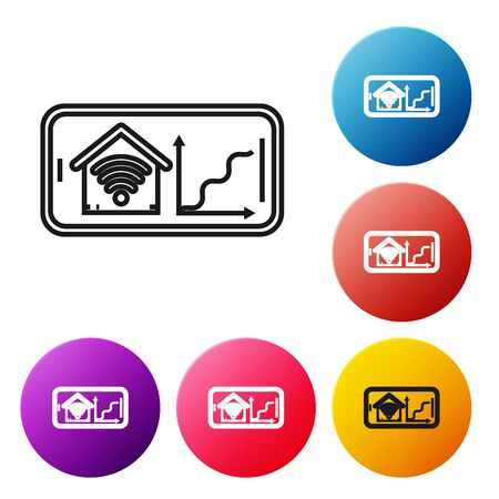 Black line Mobile phone with smart home with wifi icon isolated on white background. Remote control. Set icons colorful circle buttons. Vector Illustration