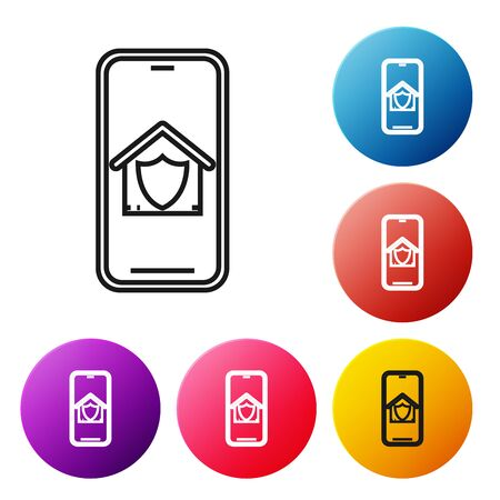 Black line Mobile phone with house under protection icon isolated on white background. Protection, safety, security, protect, defense concept. Set icons colorful circle buttons. Vector Illustration