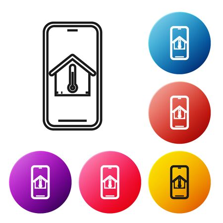 Black line Mobile phone with house temperature icon isolated on white background. Thermometer icon. Set icons colorful circle buttons. Vector Illustration