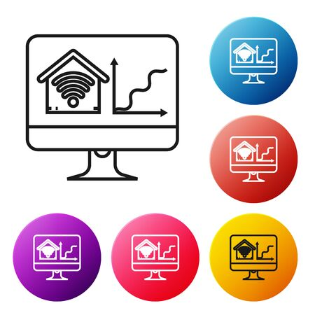 Black line Computer monitor with smart home with wifi icon isolated on white background. Remote control. Set icons colorful circle buttons. Vector Illustration