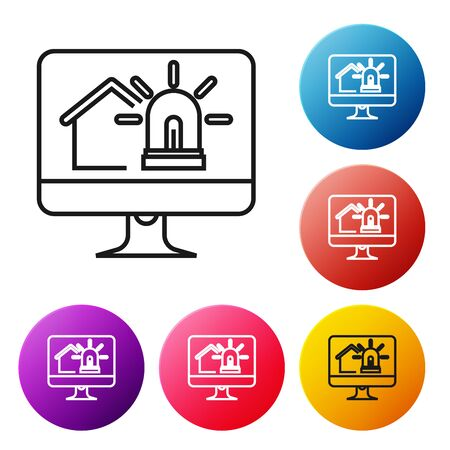 Black line Computer monitor with smart house and alarm icon isolated on white background. Security system of smart home. Set icons colorful circle buttons. Vector Illustration Illusztráció