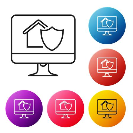 Black line Computer monitor with house under protection icon on white background. Protection, safety, security, protect, defense concept. Set icons colorful circle buttons. Vector Illustration Stock Illustratie