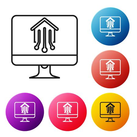 Black line Computer monitor with smart home icon isolated on white background. Remote control. Set icons colorful circle buttons. Vector Illustration